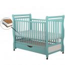 BabyNeeds - Patut din lemn Jas 120x60 cm, cu sertar, Mint + Saltea 10 cm