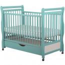 BabyNeeds - Patut din lemn Jas 120x60 cm, cu sertar, Mint