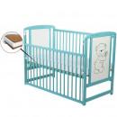 BabyNeeds - Patut din lemn Timmi 120x60 cm, cu laterala culisanta, Mint + Saltea 8 cm