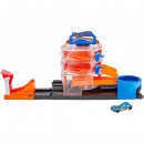 Pista de masini Hot Wheels by Mattel City Spin Dealership cu 1 masinuta