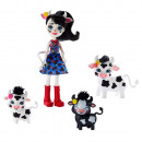 Set Enchantimals by Mattel Cambrie Cow With Ricotta And Family Papusa cu 3 figurine