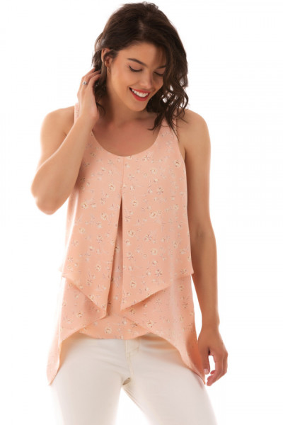 Top Assymetric Pink Flowers
