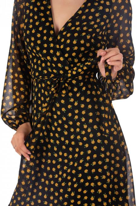 Rochie Chiffon Black Yellow