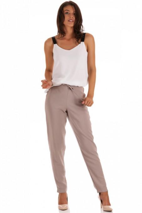 Pantalon lung cu cordon in talie
