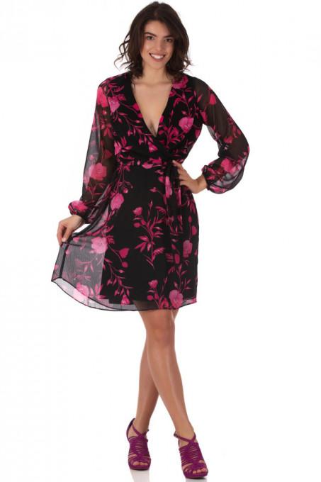 Rochie Chiffon Black Pink