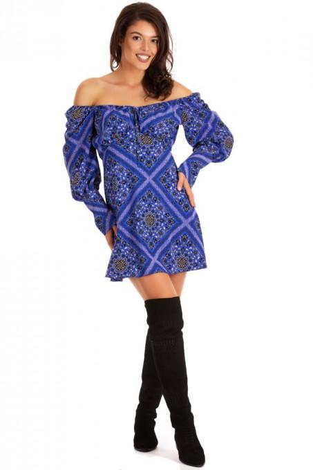 Rochie Shoulder Geometric Blue