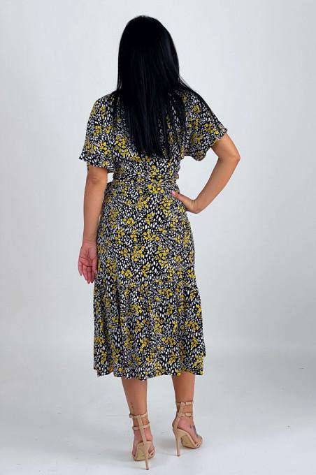 Rochie Wrap Black & Yellow