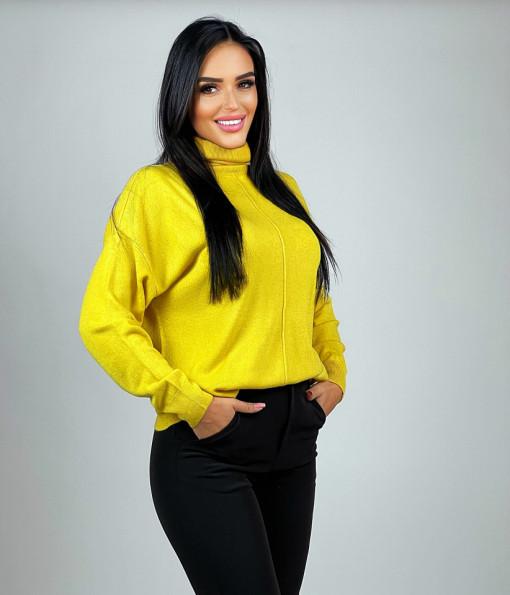 Cardigan High Neck Yellow
