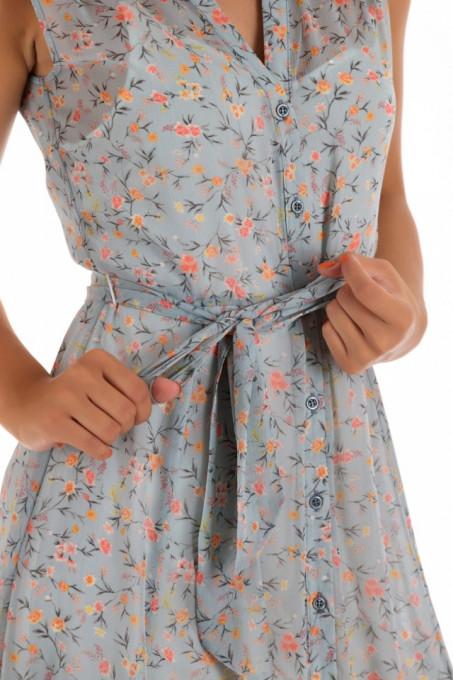 Rochie asimetrica cu nasturi si cordon in talie