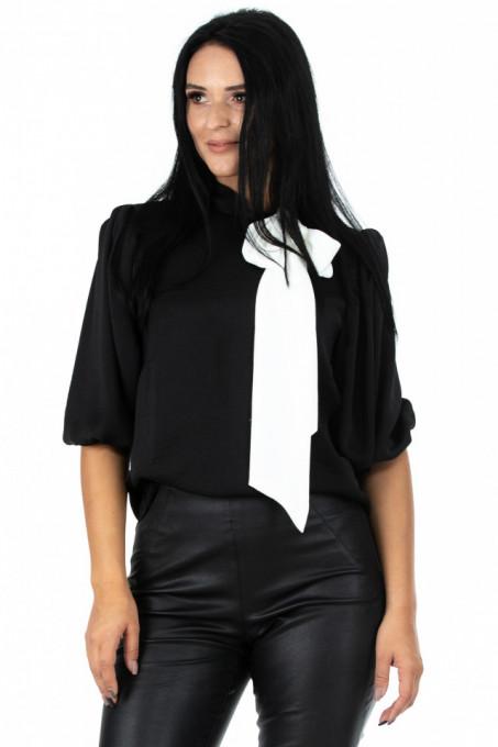 Bluza Tie Neck Black