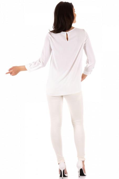 Bluza cu maneca lunga si pliuri la decolteu