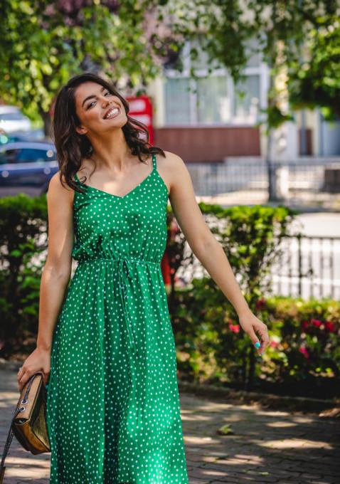 Rochie Assymetric Green Dots