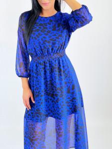 Rochie Shirring Blue Animal Print