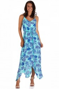 Rochie Assymetric Blue Palm