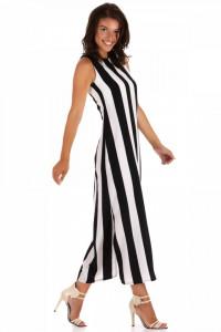 rochie lunga dreapta in dungi alb negru