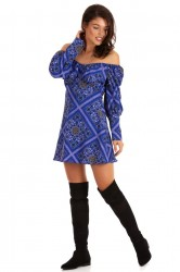 Rochie Shoulder Geometric Blue