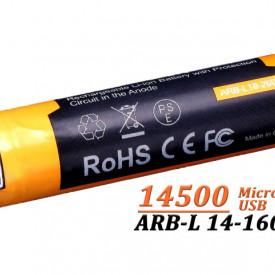 Acumulator Fenix 14500 - 1600mAh cu Micro-USB - ARB-L 14-1600U