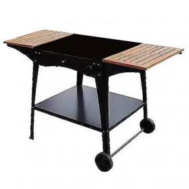 Stand metalic mobil pentru cuptor traditional pentru pizza pe lemne Maximus cu mese laterale din lemn - MAXIMUSTANDBLACKW
