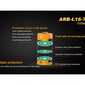 Acumulator Fenix 16340 - 700mAh - ARB-L 16-700 3