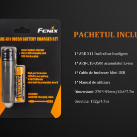 Kit Incarcator Fenix ARE-X11 + Acumulator 18650 3500mAh 7