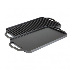 Plita din fonta cu 2 fete neteda si grill Chef Collection Lodge 41,5 x 25,5 cm - L-CDRG