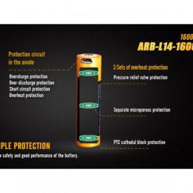 Acumulator Fenix 14500 - 1600mAh cu Micro-USB - ARB-L 14-1600U 3