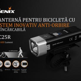 Lanterna bicicleta de ghidon Fenix BC25R Reincarcabila 600 Lumeni 106 Metri 2