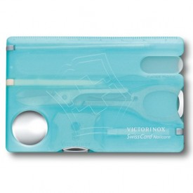 Multifunctional Victorinox SwissCard NailCare, albastru transparent - 0.7240.T21