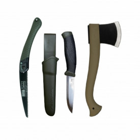 Set cuţit, fierastrau si topor pentru bushcraft/ camping/ vanatoare - BM5