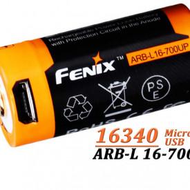Acumulator Fenix 16340 Cu micro USB - 700mAh - RB-L 16-700U