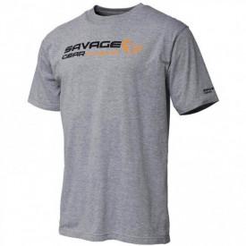 Tricou Savage Gear Signature Logo Grey Melange