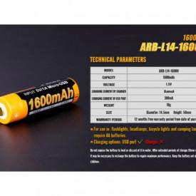 Acumulator Fenix 14500 - 1600mAh cu Micro-USB - ARB-L 14-1600U 5