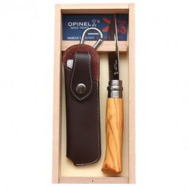 Briceag Opinel Nr.08 Inox Maslin + Teaca, 8.5cm - 001004