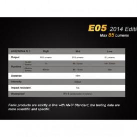 Lanterna Fenix E05 85 lumeni caracteristici