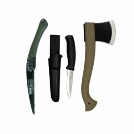 Set cuţit, fierastrau si topor pentru bushcraft/ camping/ vanatoare - BM4