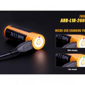 Acumulator 18650 - 2600mAh Cu Micro USB - ARB-L 18-2600U 3