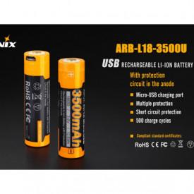 Acumulator 18650 - 3500mAh cu Micro USB - ARB-L 18-3500U 2