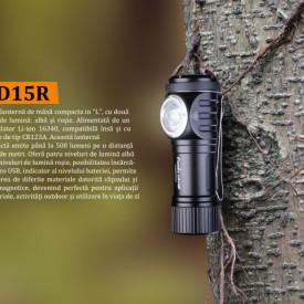 Lanterna Fenix LD15R - Lanterna Reîncarcabila - 500 Lumeni - 85 Metri pe copac