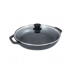 Tigaie adanca rotunda din fonta cu manere si capac de sticla Chef Collection Lodge 30 cm - L-C12EP