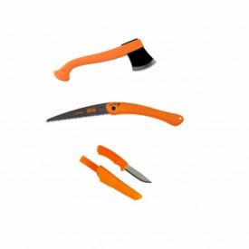 Set topor Morakniv, fierastrau Bacho si cutit bushcraft orange- CBS90