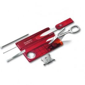 Multifunctional Victorinox SwissCard Lite, rosu transparent - 0.7300.T