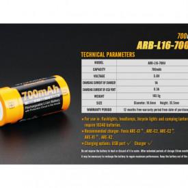 Acumulator Fenix 16340 Cu micro USB - 700mAh - RB-L 16-700U 5