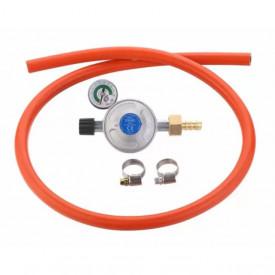 Set regulator de presiune gaz cu manometru si furtun cu filet 1 pe 4 Cadac 30mBar Overflow - 8515-OF