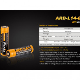 Acumulator Fenix 14500 - 800mAh - ARB-L 14-800 3