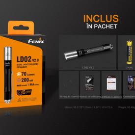 Lanterna Fenix LD02 V2.0 70 Lumeni 48 Metri pachet
