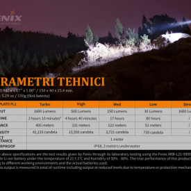 Lanterna Fenix TK22 V2.0 1600 Lumeni 405 Metri caracteristici