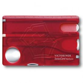 Multifunctional Victorinox SwissCard NailCare, rosu transparent - 0.7240.T