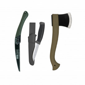 Set cuţit, fierastrau si topor pentru bushcraft/ camping/ vanatoare - BM6