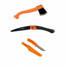 Set topor Morakniv , fierastrau si cutit bushcraft orange - CBS1
