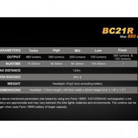 Lanterna bicicleta de ghidon Fenix BC21R Reincarcabila 880 Lumeni 125 Metri 5